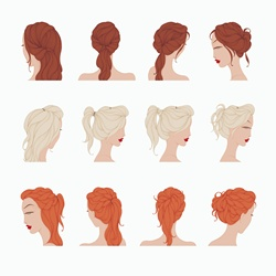Series of headshots of brunette, blond and red-haired female, white background