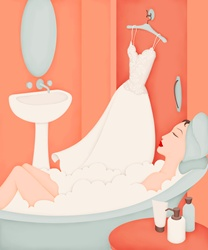 Beautiful woman in bathtub with wedding dress on coathanger