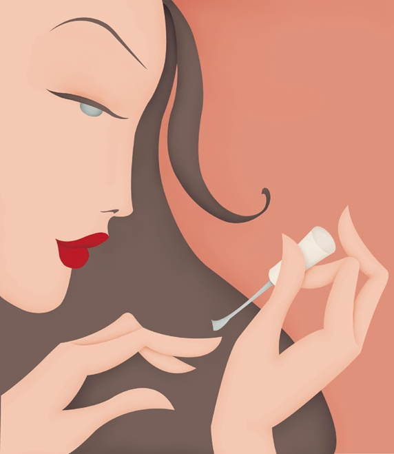 Woman applying nailpolish
