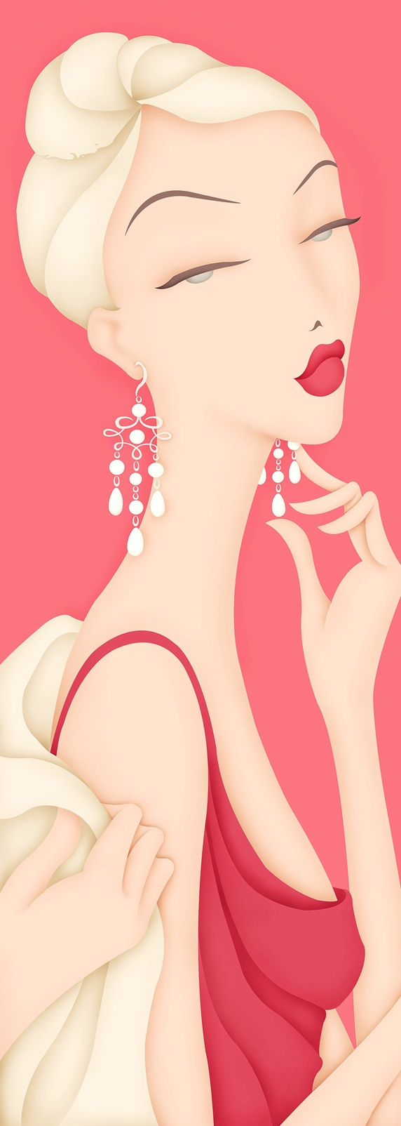 Blonde female wearing elegant red clothing and pearl earrings, pink background
