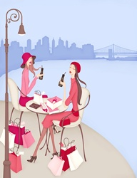 Women dressed in pink drinking from bottles at diver bank, pink shopping bags, waterfront in background