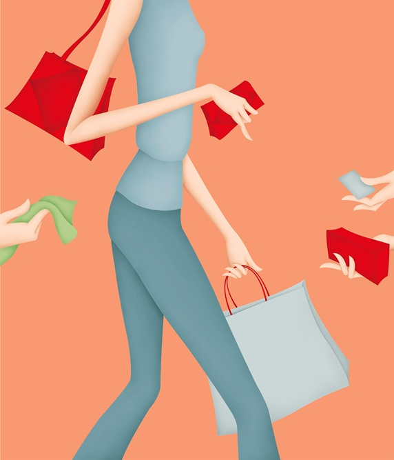 Female customer and bags, orange background
