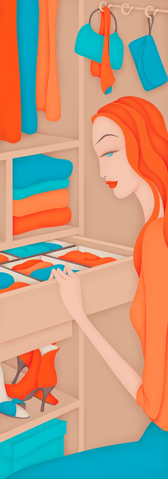 Beautiful woman opening tidy clothing drawer in closet