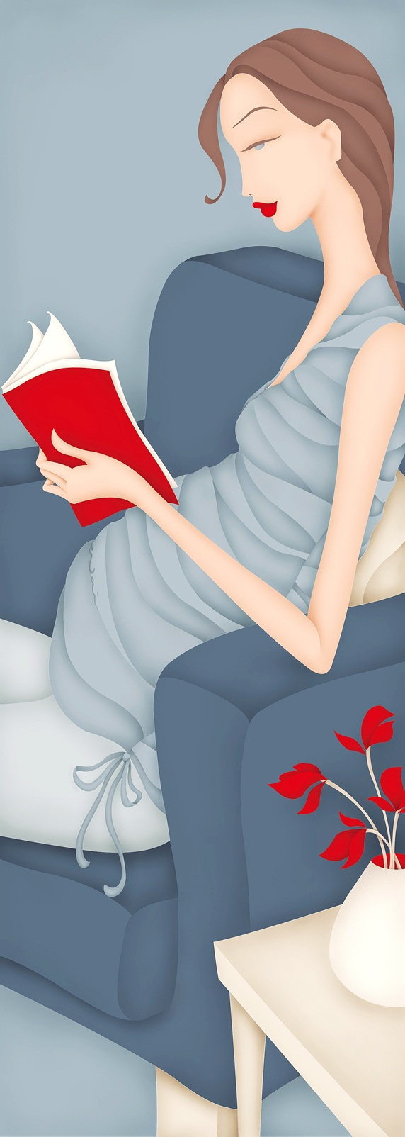 Pregnant woman reading red book