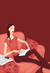 Female reading book on red sofa