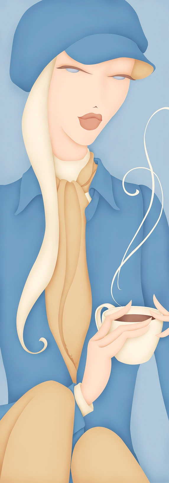 Female wearing hat holding hot cup of coffee