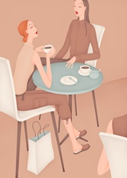 Two women friends chatting and drinking coffee in coffee shop