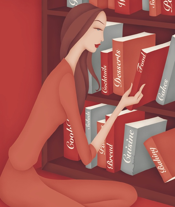 Woman arranging the books