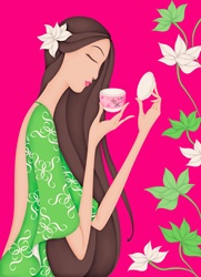 Beautiful woman smelling cup