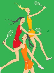 Beautiful women playing tennis