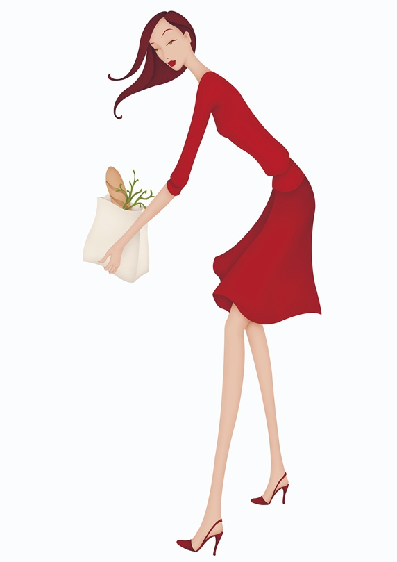 Woman in red dress holding paper bag