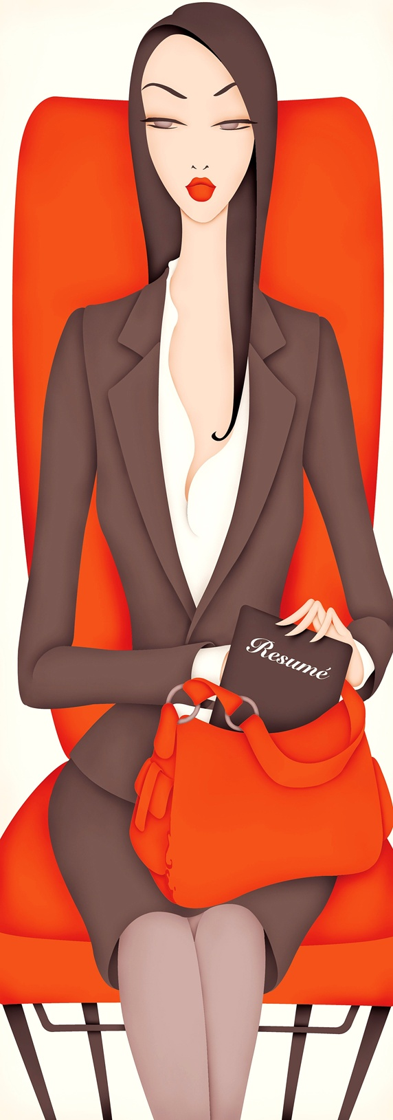 Well-dressed woman holding resume