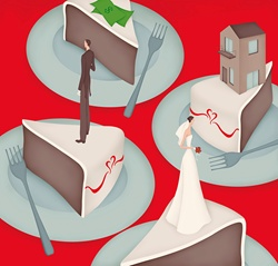 Separated bride and groom dividing money and house on wedding cake slices