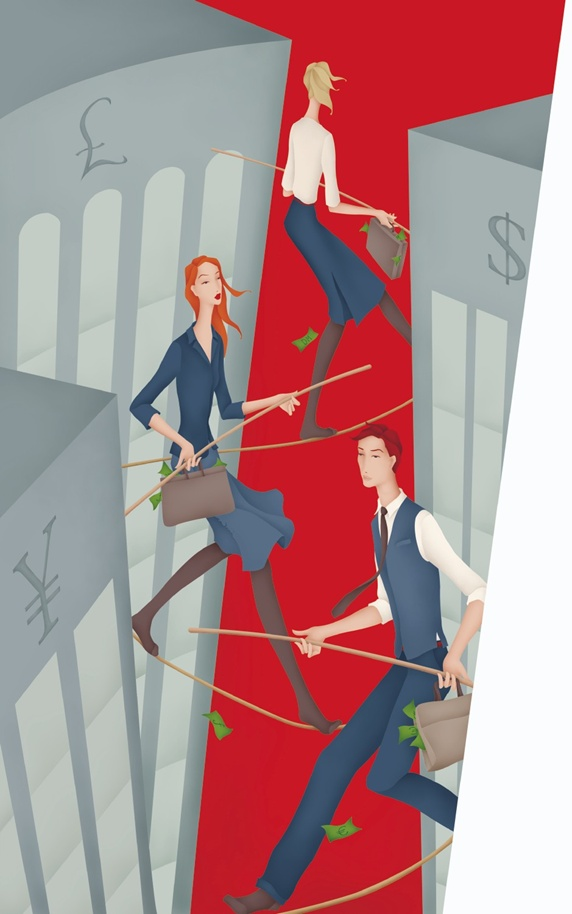 Business people walking tightropes between skyscrapers and losing money from briefcases