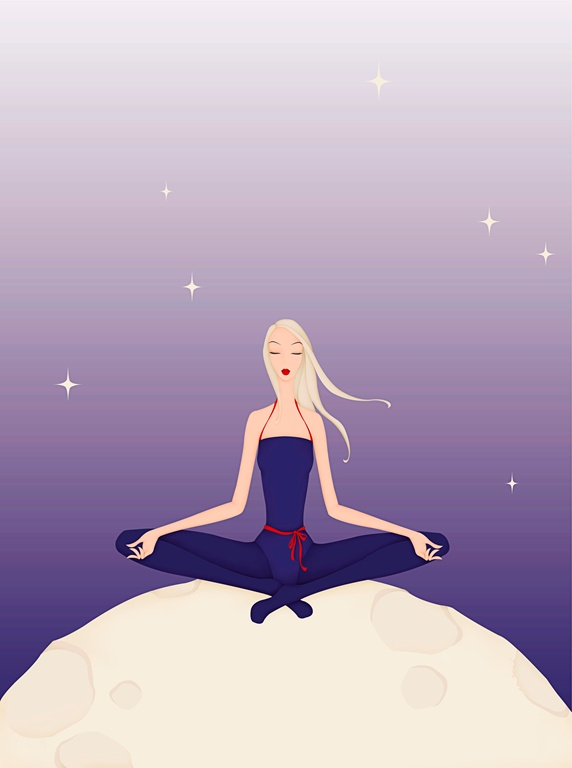 Beautiful woman practicing yoga on moon