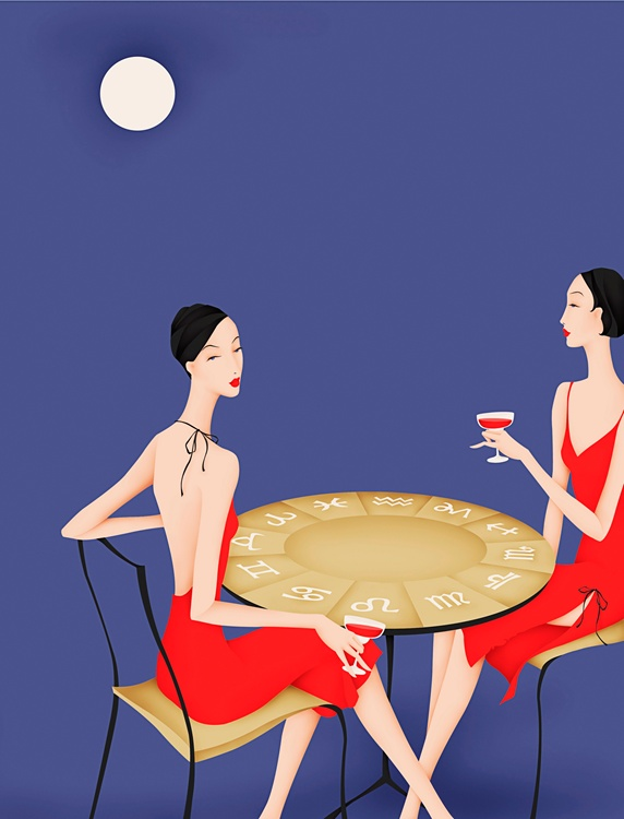 Elegant twin women  drinking wine at table with astrology signs