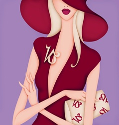Glamorous woman with brooch and purse with Capricorn symbol