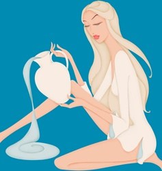 Beautiful woman pouring water posing as astrology sign Aquarius