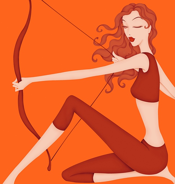 Beautiful woman holding bow posing as astrology sign Sagittarius