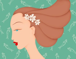 Beautiful woman with flowers in hair and Virgo astrology sign pattern wallpaper