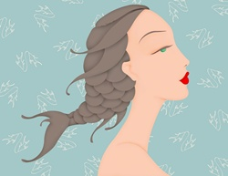 Beautiful woman with fish braid in hair and Pisces astrology sign pattern wallpaper