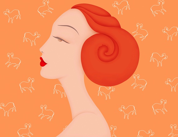 Beautiful woman with horn hair bun and Aries astrology sign pattern wallpaper