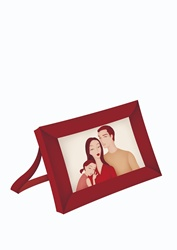 Frame with family portrait on white background
