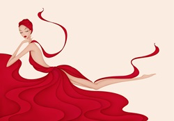 Fashion illustration of beautiful woman draped in flowing red gown