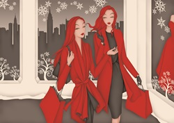 Elegant women wearing red coats, shopping together