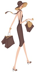 Elegant woman walking with shopping bags