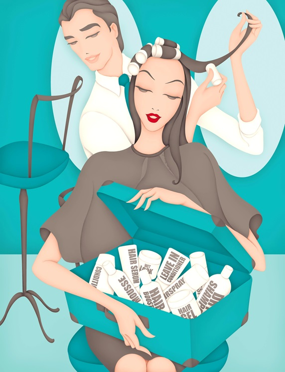 Woman holding box with hair products in hair salon