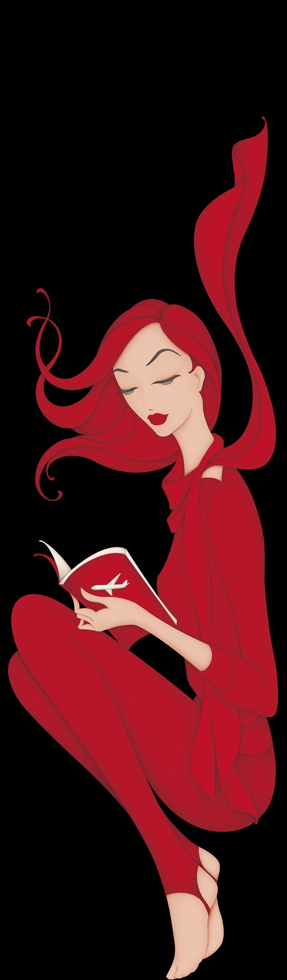 Redhead young woman reading