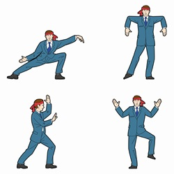 Businessman practicing martial arts poses