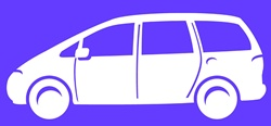 Car on purple background