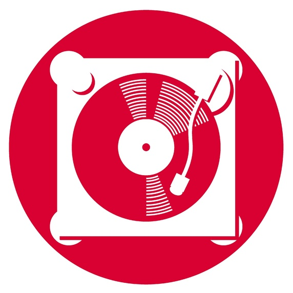 Record player in red circle on white background