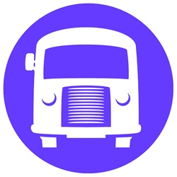 Bus in blue circle on white background