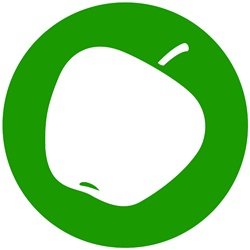 Apple in green circle on white background