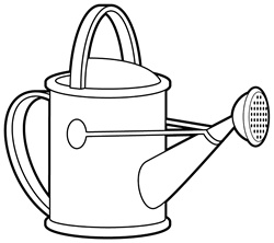 Watering can on white background