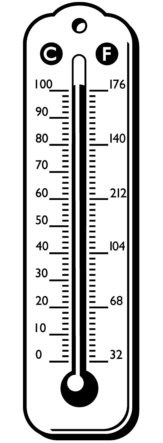Thermometer with Celsius and Fahrenheit scale Stock Images