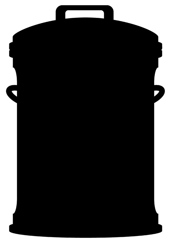 Silhouette of garbage can