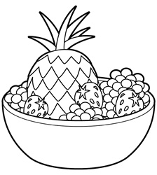 Pineapple and fruits in bowl