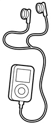 MP3 player with earphones