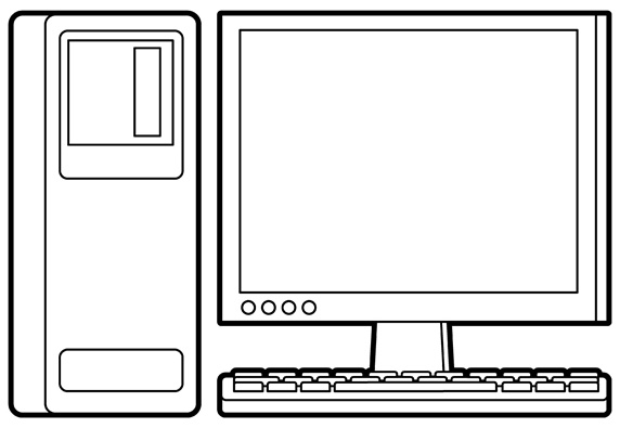 Desktop computer with blank monitor