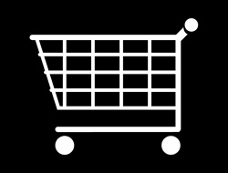 Shopping cart against black background