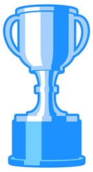 Blue trophy against white