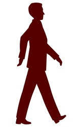 Silhouette of walking man