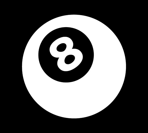 Eight ball against black background