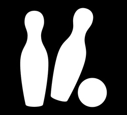 Ball hitting bowling pins