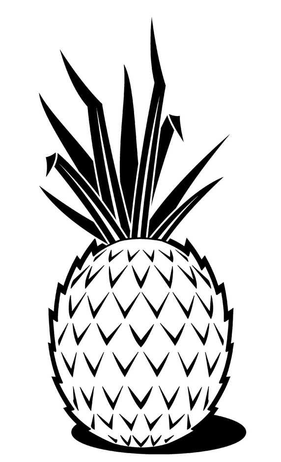 Pineapple against white background