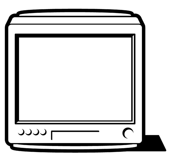 Television set with blank screen